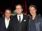 L'ex presidente del FCB Bernhard Heusler, il padrone di casa Dieter Jermann e l'allenatore del GC Murat Yakin.